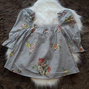 NWT Asos Ruffle Off Shoulder Stripe Floral Top